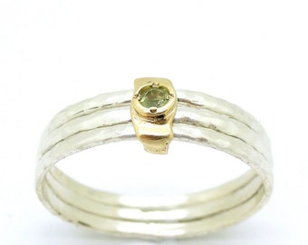 Peridot ring, yellow gold, stacking ring, hammered silver bands