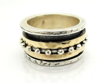 Wedding spinner band with 925 Sterling Silver & 9K 9K Gold