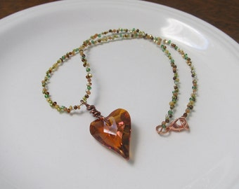 "Beaded Necklace with Crystal Copper ""Wild Heart"" Pendant"