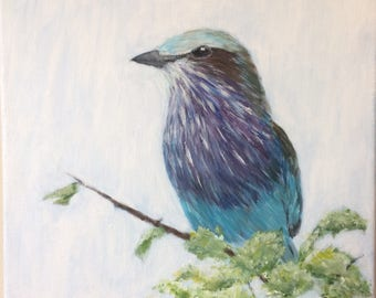 """Lilac-breasted Roller - Original Acrylic Painting 12""""x12"""""""