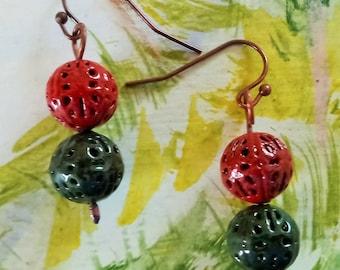 Copper Enameled Ball Earrings