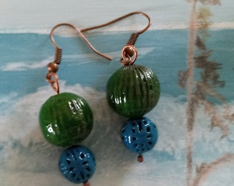 Enameled Ball Earrings