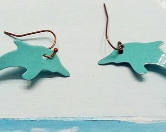 Powder Coated Dolphin Earrings