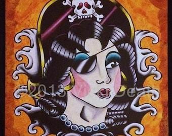 Pirate Pin Up Girl Original Tattoo Art