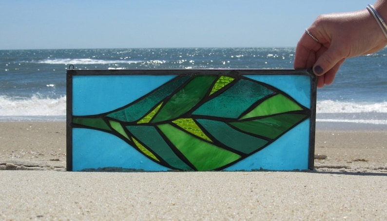 banana leaf art beach home decor window glass kitchen window art turquoise sky STAINED GLASS LEAF plant lover gift tropical glass