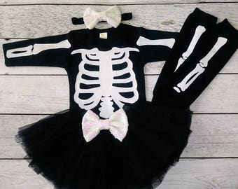 Baby girl Halloween costume Tutu costume Toddler Skeleton Costume Infant Girl Halloween Skeleton Long Sleeve Shirt- Leg Warmer & Skeleton costume | Etsy