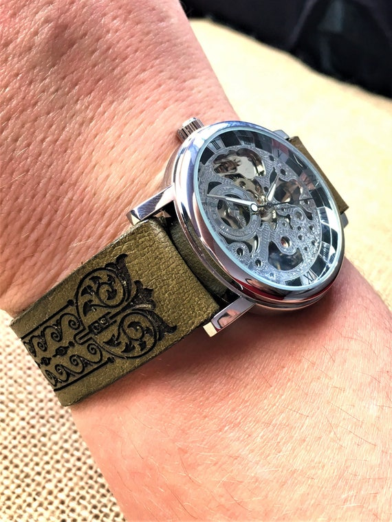 Leather watch band, leather watch strap, art nouve