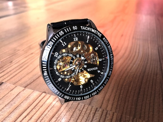 Engraved watch, Personalized watch, Skeleton watch