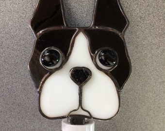 Boston Terrier Stained Glass Dog Night Light