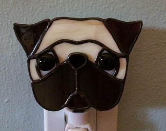 Stained Glass Pug Dog Night Light