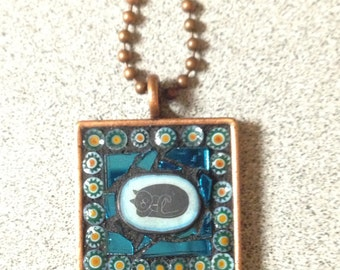 Stained Glass Mosaic Kitty  Necklace