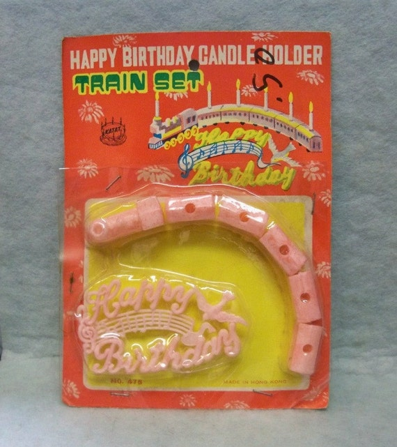 Happy Birthday Train Cake Topper Candle Holder 7 Piece