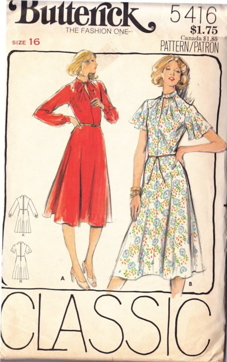 Misses Dress Pattern Stand Up Collar Gathered Front Neckline  6ada9464e