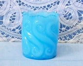 Vintage Blue Opalescent Glass Toothpick Repeat S Swirl L G Wright 2 1 2 quot High Factory Issued Mint Condition