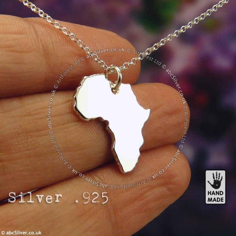10c721ace721 África mapa hecho a mano plata.925 collar en una caja de