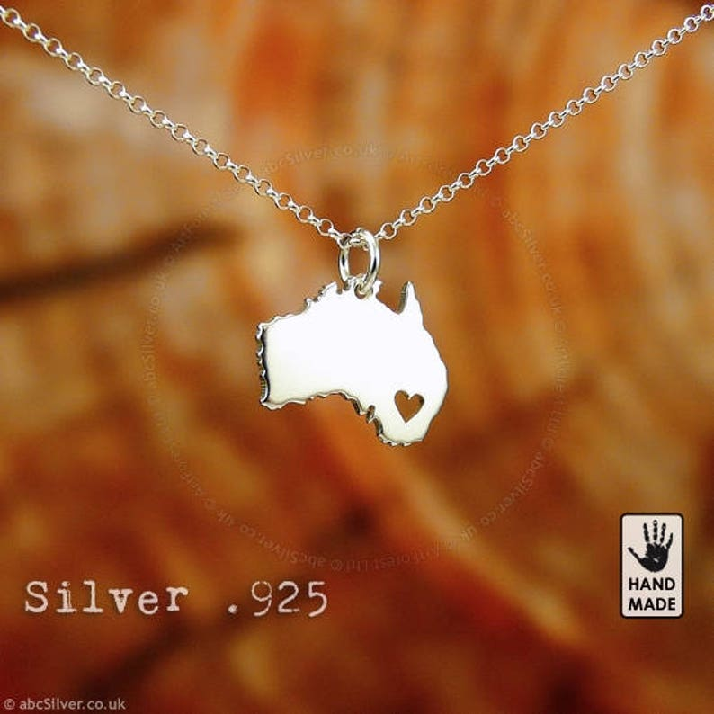 Australia Map Handmade Personalized Sterling Silver 925 Necklace In A Gift Box