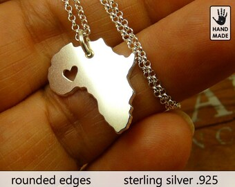 Tiny AFRICA Map Handmade Personalized Sterling Silver .925 Necklace in a gift box