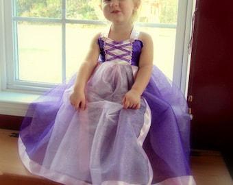 fe3ff77b184d Rapunzel Dress: lined purple sparkle tutu with pink center and straps,  Princess Party, Costume, Princess Dinner, wrap around, adjustable