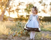 Alice in Wonderland dress lined blue with white apron and black trim satin tutu dress, easy on and off, costume, birthday party, adjustable