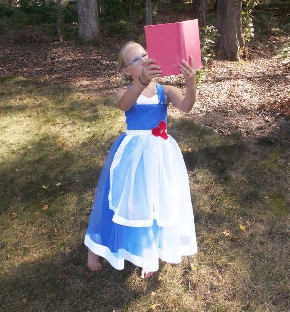 Girls Blue Belle Inspired Dress, Costume, Disney Vacation Outfit, Girl Disney World clothes, Dress up play, Kids Cosplay