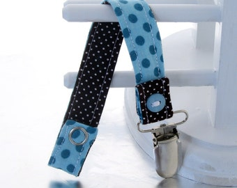 Pacifier Clip with Snaps Double Sided - blue polka dots/brown polka dots