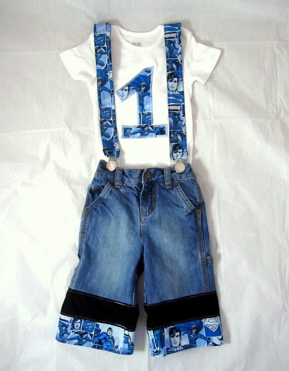 Super anniversaire homme tenue: Tenue de l'anniversaire garçon, chemise, jeans, bretelles, réglable, amovible, recyclés, super héros, bleu, noir