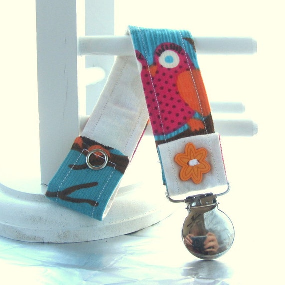 Pacifier Clip With Snaps Double Sided Blue Pink Orange And