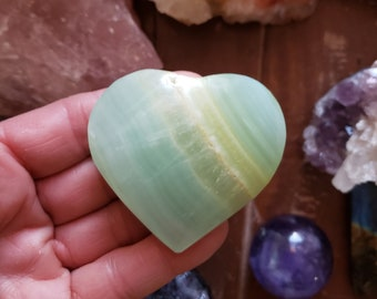 Pistachio Calcite Polished Heart