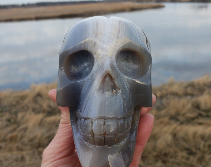 Featured listing image: Agate Geode Skull Carving