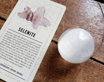 Selenite Sphere and Lavish Earth Crystal Affirmation Cards