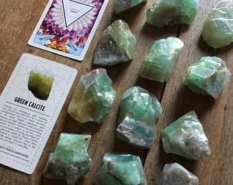 Green Calcite and Lavish Earth Crystal Affirmation Cards
