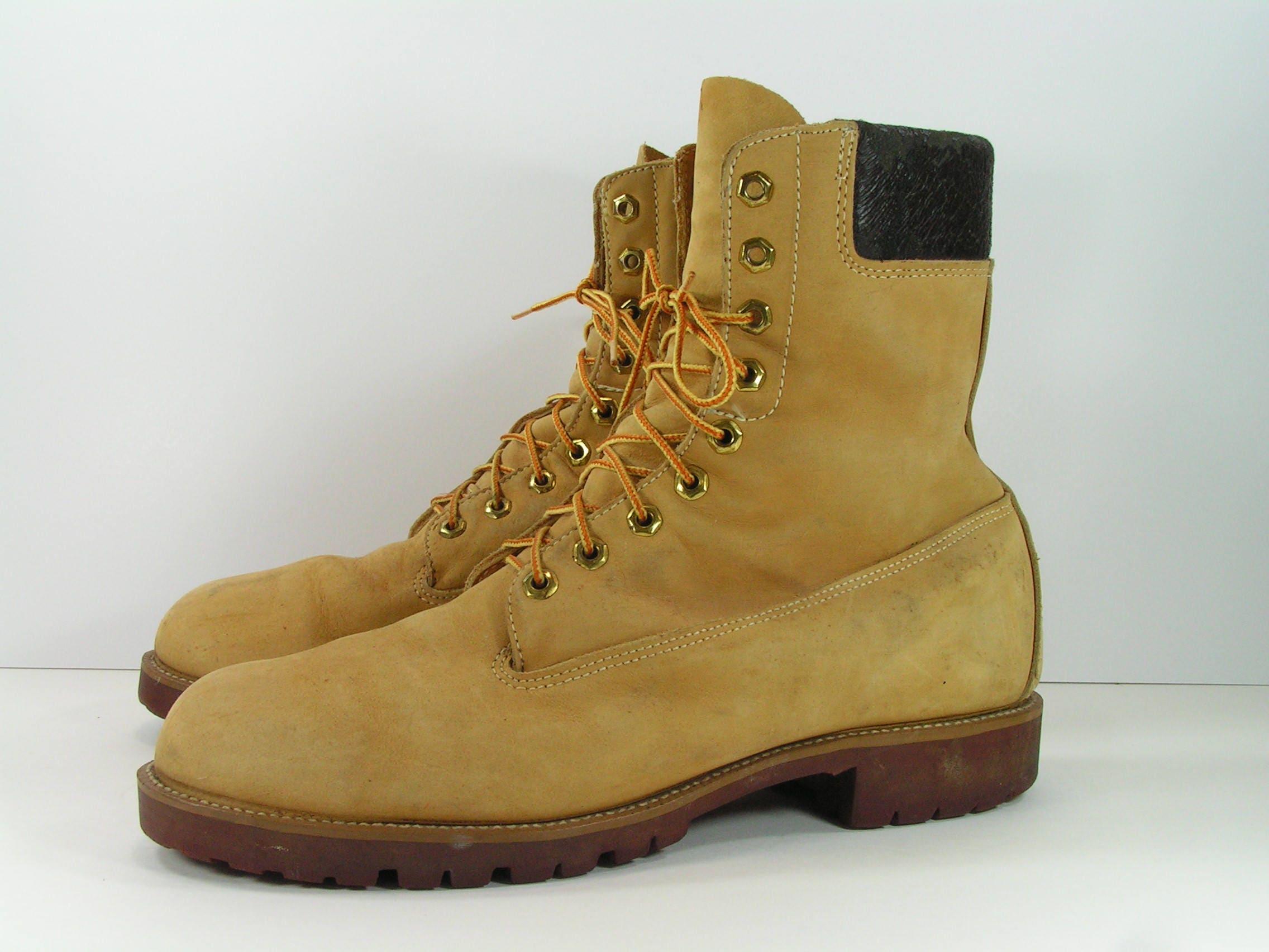 c47d781ccfc vintage sears work boots mens 13 D tan leather lace up biker