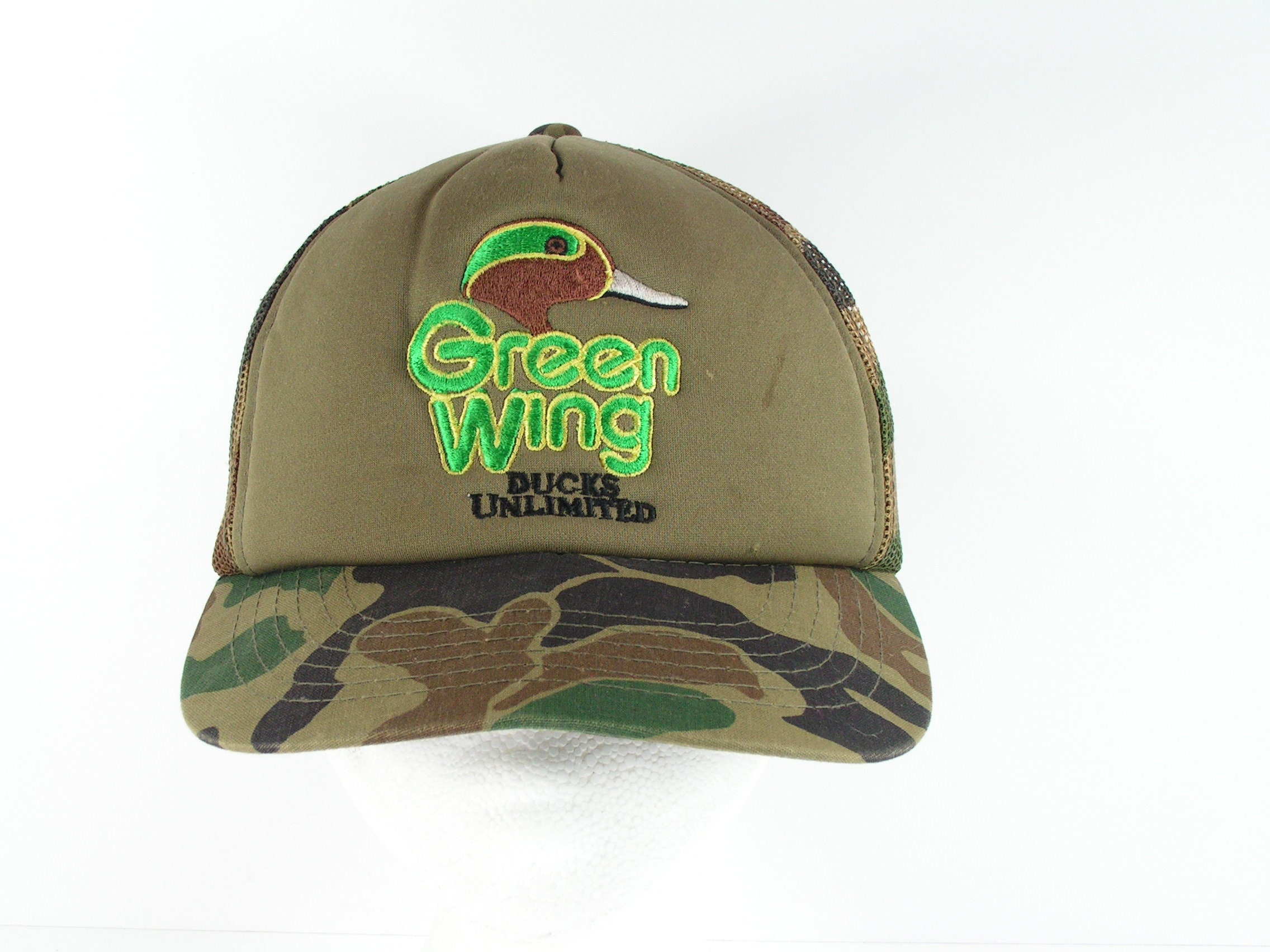 75ad25eef ducks unlimited green wing snapback cap hat truckers hunting camouflage mesh