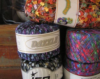 DISCONTINUED Trellis Ladder & Butterfly Flag Yarns: Plymouth 'Eros' - Ice 'Mini Ladder' - Estelle 'Dazzle' - Euro 'Carnival' - FREE SHIPPING