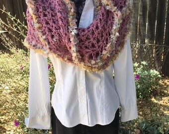 Hand Crochet Seamist Infinity Scarf Cowl Wrap Snood - Geometric Designs - Hippie Boho Chic - Shabby Chic - Amore Boa - Multi Functional