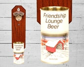 Bottle Opener with Vintage Wall Mounted Friendship Lounge Winter Beer Can Cap Catcher