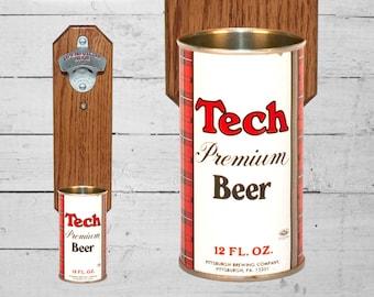 Tech Beer Wall Mounted Bottle Opener with Vintage Beer Can Cap Catcher