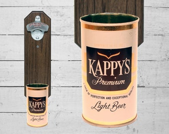 Kappy's Wall Mounted Bottle Opener with Vintage Beer Can Capcatcher - Cappie Captain Christmas Gift for Guy Mancave Bar