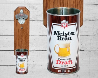 Meister Brau Wall Mounted Bottle Opener with Vintage Beer Can Cap Catcher