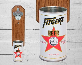 Fitger's Wall Mounted Bottle Opener with Vintage Duluth Great Lakes Beer Can Cap Catcher
