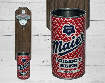 Wall Mounted Bottle Opener with Vintage Maier Beer Can Cap Catcher