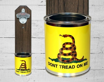 Wall Mounted Bottle Opener with Don't Tread On Me Gadsden Flag Tin Can Cap Catcher - Beer Bottle Opener - Patriotic Gift for Guy