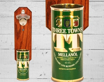 Wall Mounted Bottle Bottle Opener with Vintage Three Towns Swedish Beer Can Cap Catcher