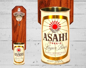 Asahi Tokyo Wall Mounted Bottle Opener with Vintage Japanese Beer Can Cap Catcher - Gifts for Groomsmen