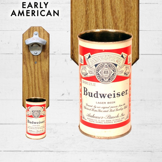 Valentines Gift Northern Wall Mounted Bottle Opener with Vintage Beer Can Cap Catcher Gift for Dad