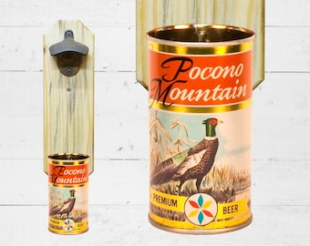 Wall Mounted Bottle Opener with Vintage Pocono Mountain Pheasant Beer Can Cap Catcher Gift for Hunter