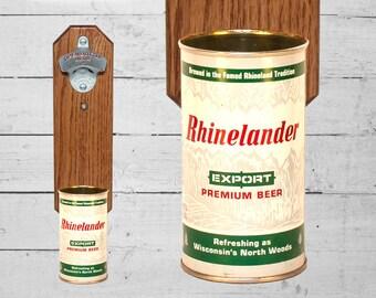 Rhinelander Wall Mounted Bottle Opener with Vintage Beer Can Cap Catcher - Groomsmen Gift