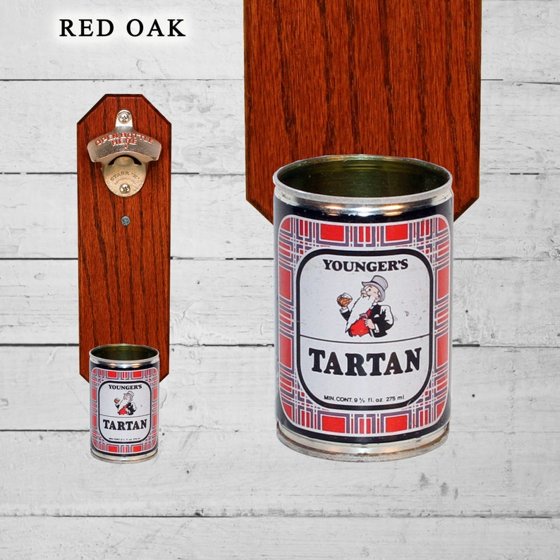 Bar Accessory Man Cave Gift Wall Mounted Bottle Opener with Vintage Younger/'s Tartan Beer Can Cap Catcher