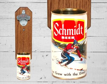 Boyfriend Gift Beer Bottle Opener Snow Skier with Vintage Schmidt Ski Beer Can Cap Catcher, Gift for Guy and Holiday Gift or Cabin Decor