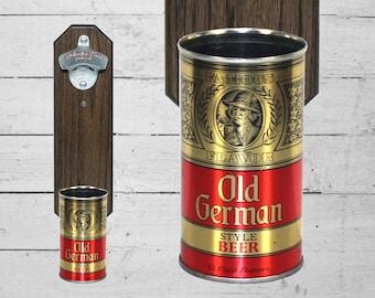 Old German Wall Mounted Bottle Opener with Vintage Beer Can Cap Catcher - Groomsmen Gift